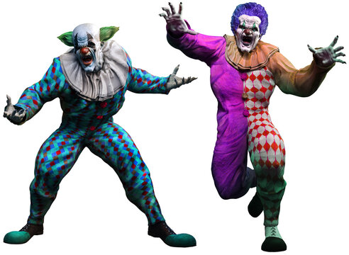 Killer clowns 3D illustration