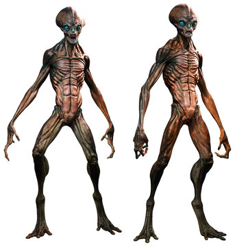 Aliens in standing poses 3D illustration
