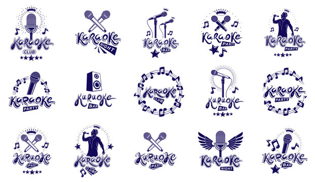 Karaoke party or club logos and emblems vector set isolated, singing music nightlife entertainment weekend theme, microphones and musical notes compositions.