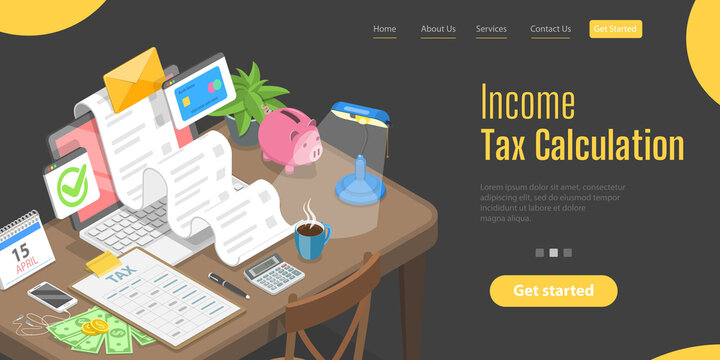3D Isometric Flat Vector Landing Page Template for Financial Tax Report, Tax Return Calculation.
