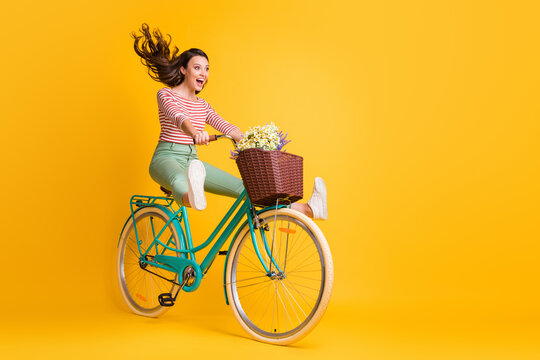 Full length body size photo of funny girl shouting riding bicycle keeping legs up isolated on vivid yellow color background