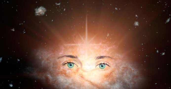 The concept of clairvoyance. Piercing green eyes looking into the future against the background of the galaxy. Paranormal abilities, clairvoyance, divination. Elements of this image are provided by NA