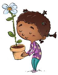 Photo sur Plexiglas Dinosaurs African American girl with flower