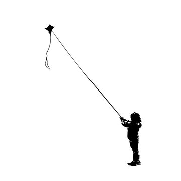 Child fly with kite, isolated vector silhouette