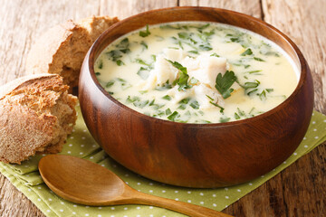 Recipe Traditional Scottish Cullen Skink made of smoked haddock, potatoes and onions closeup in the...