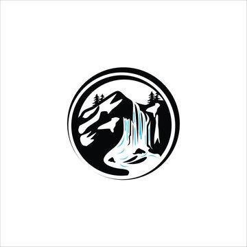 waterfall under the mountain logo icon design silhouette