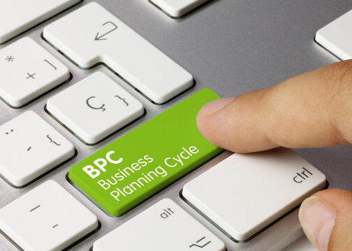 BPC - Business Planning Cycle - Inscription on Green Keyboard Key.