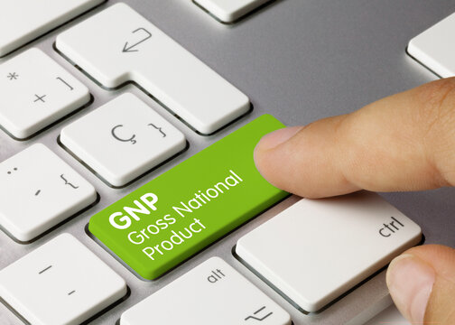 GNP Gross National Product - Inscription on Green Keyboard Key.