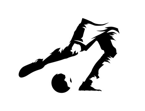Soccer player kicking ball, legs and ball, ink drawing. Isolated vector silhouette