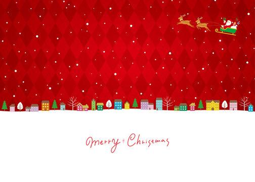 クリスマスの街並み背景、サンタクロースとトナカイのソリ、フルカラーバージョン赤