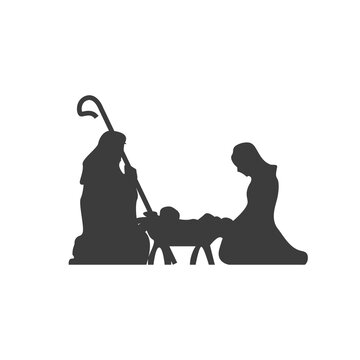 Christmas scene, Christianity birth of baby Jesus. Mary and Joseph, manger holiday silhouette. Vector illustration icon