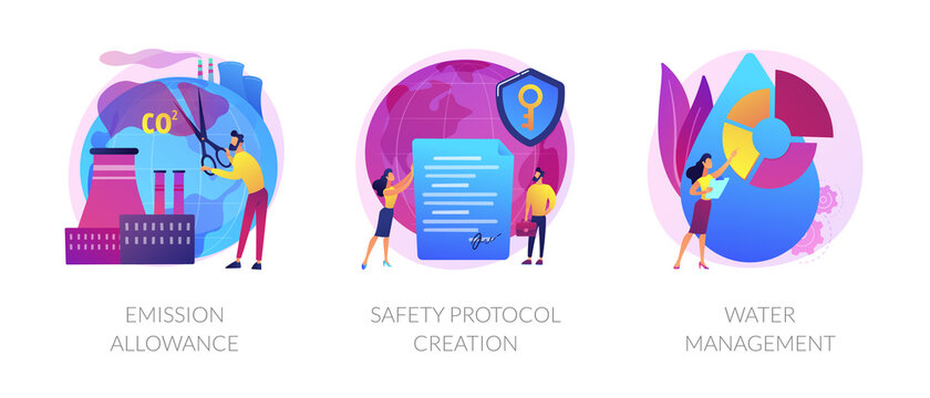 Controlling pollution icons set. Limiting pollutants into air, water and land. Emission allowance, safety protocol creation, water management metaphors. Vector isolated concept metaphor illustrations.