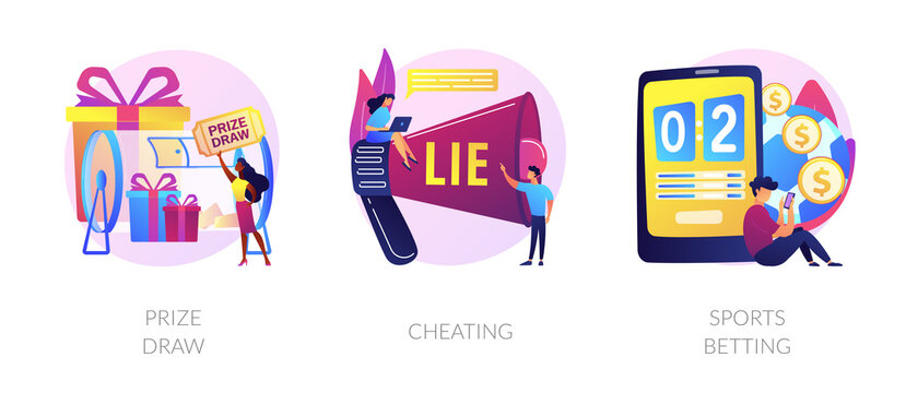 Lottery awards raffle, unfair victory and fraud, internet gambling problem icons set. Prize draw, cheating, sports betting metaphors. Vector isolated concept metaphor illustrations