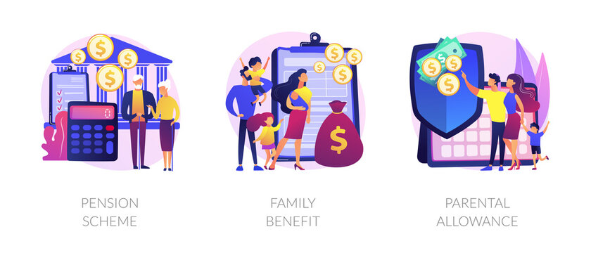Social security payments metaphors. Family tax benefit, pension scheme, parental allowance. Money support for raising children, insurance abstract concept vector illustration set.