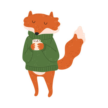Happy red fox standing and drinking hot cocoa with marshmello