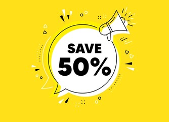 Photo sur Plexiglas Dinosaurs Save 50% off. Megaphone yellow vector banner. Sale Discount offer price sign. Special offer symbol. Thought speech bubble with quotes. Discount chat think megaphone message. Vector