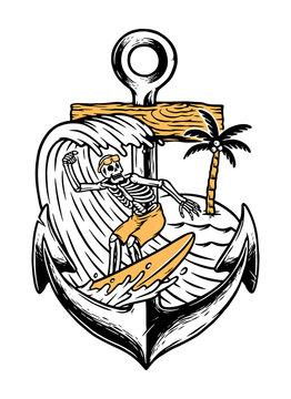 Skull surfing and anchor illustration