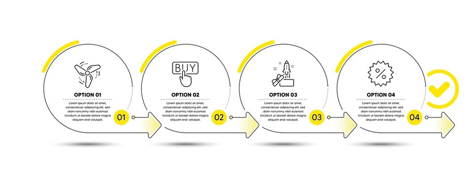 Wind energy, Innovation and Buying line icons set. Timeline process infograph. Discount sign. Ventilator, Crowdfunding, E-commerce shopping. Special offer. Finance set. Vector