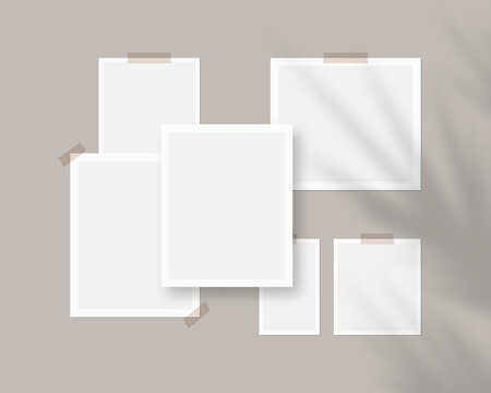 Mood board mockup template. Empty sheets of white paper on the wall with shadow overlay. Mockup vector isolated. Template design. Realistic vector illustration.
