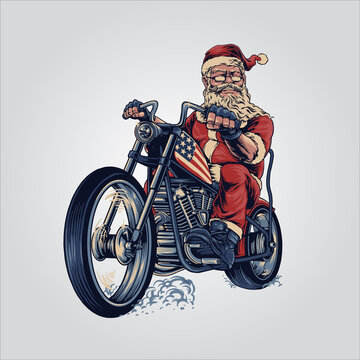 bikers Santa Claus merry Christmas cooper riding motorcycle tour American flag