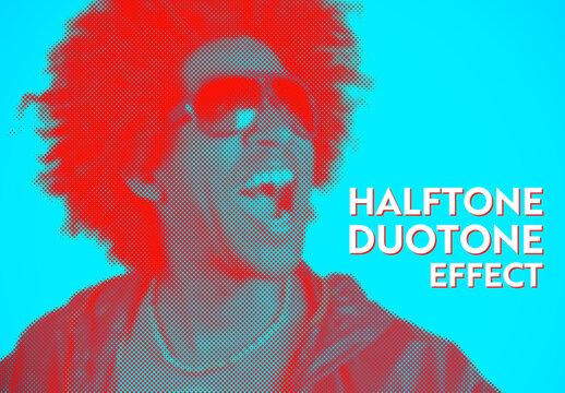 Halftone Duotone Pixelated Photo Effect Mockup
