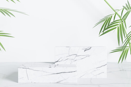 White marble product display podium with nature leaves. 3D render