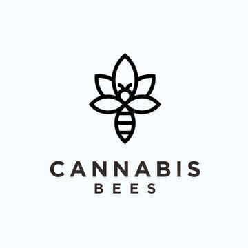 abstract marijuana logo. bee icon