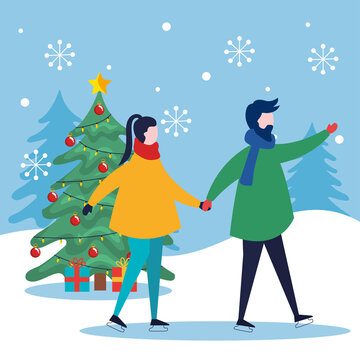 merry christmas woman and man holding hands and pine tree design, winter season and decoration theme Vector illustration