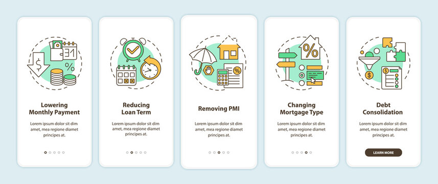 Mortgage refinance benefits onboarding mobile app page screen with concepts. Lowering payment, removing PMI walkthrough 5 steps graphic instructions. UI vector template with RGB color illustrations
