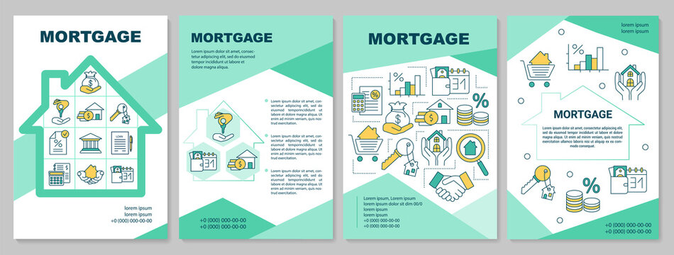 Mortgage industry brochure template. Bank loan. Help purchase home. Flyer, booklet, leaflet print, cover design with linear icons. Vector layouts for magazines, annual reports, advertising posters