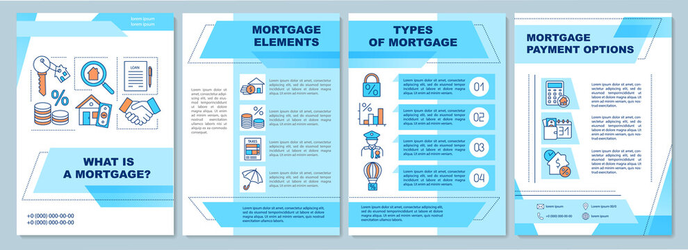 Mortgage definition brochure template. Elements and payment options. Flyer, booklet, leaflet print, cover design with linear icons. Vector layouts for magazines, annual reports, advertising posters