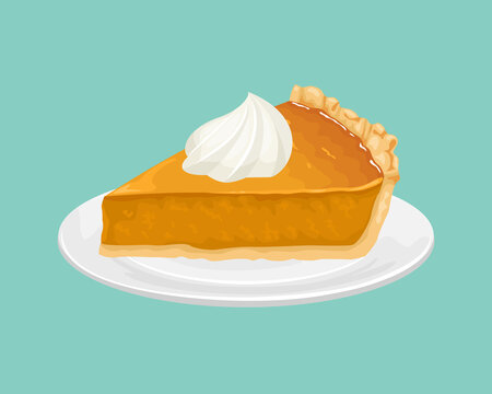 Slice of pumpkin pie with whipped cream on a white plate. Vector illustration of a festive dessert in cartoon flat style.