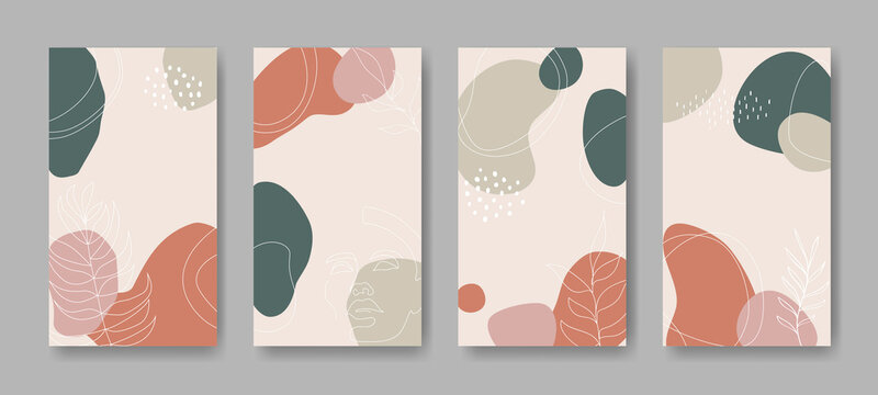 Set of four vector banners with abstract ornament and leaves