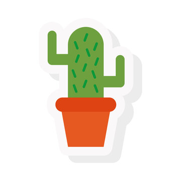 Cactus sticker and flat style icon design, Plant desert nature tropical summer mexico and western theme Vector illustration