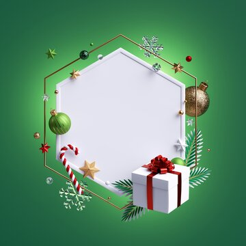 3d render, Christmas greeting card mockup. White hexagonal frame with copy space, decorated with glass balls, festive ornaments, wrapped gift box, candy cane, snow flakes; isolated on green background