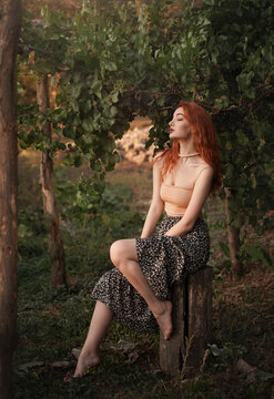 Beautiful red-haired sexy woman in a vineyard in the rays of the setting sun. Romantic, gentle feminine image.