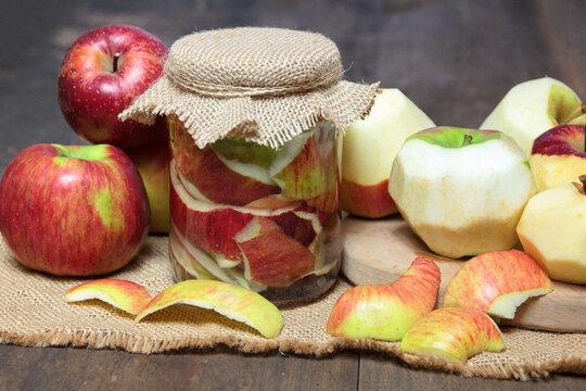Homemade apple cider vinegar from apple peel. Zero waste theme