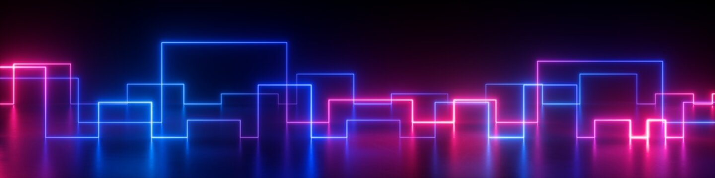 3d rendering, abstract panoramic retro synth wave neon background. Glowing square lines in ultraviolet spectrum