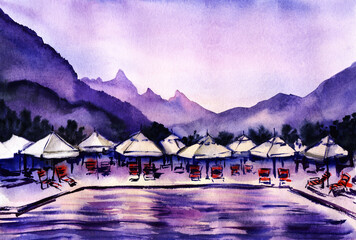 Watercolor landscape in purple shades. Early morning by pool with sun loungers and umbrellas around against forested ranges and tender lilac sky. Hand drawn summer illustration of comfortable resort