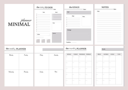 Set of minimalistic planners 2021 with pink floral cover.  Monthly, weekly,daily planner template. Business and time management. Paper sheet. Vector illustration.