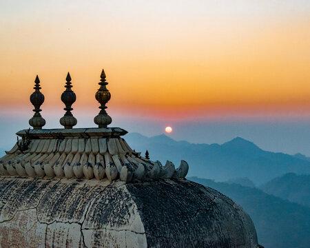Sunset On the Arravalies, Kumbhalgarh Fort , Rajasthan. High quality photo