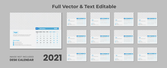 Corporate Minimal Calendar Design 2021 ,2021 desk calendar with blue layout,Blue desk calendar 2021,New Desk Calendar 2021 template