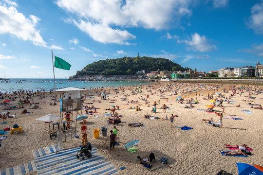 Beach of San Sebastian with social distancing on a summer 2020