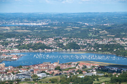 View to a border between Spain and France - endless beach, river mouth and beautiful villages.
