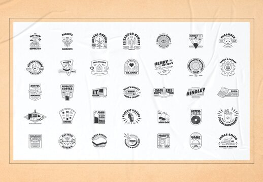 Retro Illustration Logo Badges