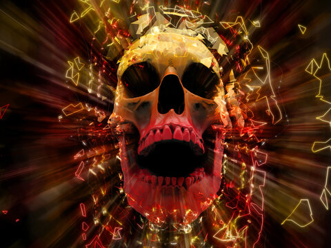 Laughing skull exploding into hundreds neon polygon elements
