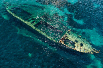 Aerial view of shipwreck Michelle near the island Dugi otok in Adriatic sea, Croatia