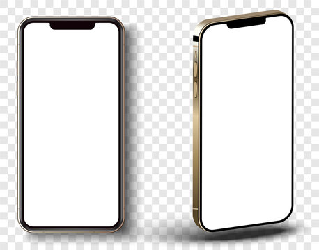 New Gold  Iphone 12 Pro, Front side and angle. Smartphone mock up with white screen. Illustration for app, web, presentation, design.