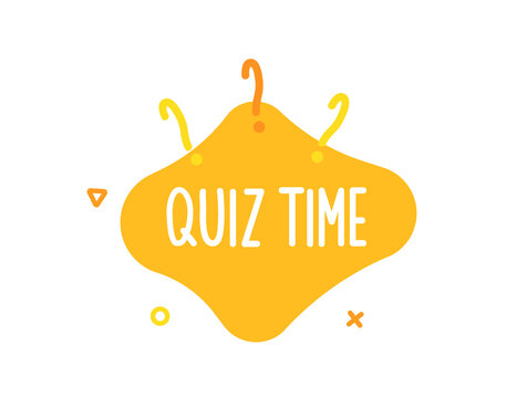 Quiz time text on liquid shape with question marks and geometric outline figures. Vector graphic design template for quiz question games, questionnaires, education, pub and bar events, online games