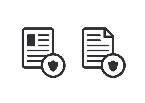Document icon. Paper icon. File access. Document protection. File security. Data protection. Personal information security. Profile icon. Shield icon. Personal document. Protected documents.